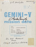 Explorers:Space Exploration, Gemini 5 Air-Ground Communications Original Transcript Book Signedby Mission Pilot Charles Conrad. ...
