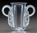 Art Glass:Lalique, Lalique Clear and Frosted Glass Thibet Vase. Circa 1931.Engraved Lalique, France. M p. 456, No. 1083. H...