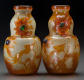 Art Glass:Galle, Pair of Gallé Overlay and Mottled Glass Vases with Foil . Withapplied and carved glass elements. Circa 1900. Etched Gallé...(Total: 2 Items)