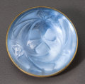 Art Glass:Lalique, R. Lalique Frosted Glass Feuilles Brooch with Blue Foil.Circa 1912. Stamped LALIQUE. M p. 546, No. 1378. Di...