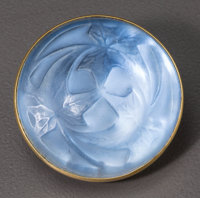 R. Lalique Frosted Glass Feuilles Brooch with Blue Foil Circa 1912. Stamped LALIQ