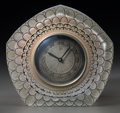 Art Glass:Lalique, R. Lalique Frosted Glass and Enameled Dahlia Clock . Circa1926. Wheel carved R. LALIQUE, FRANCE. M p. 370, No...