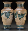 Ceramics & Porcelain, Large Pair of Doulton Lambeth Salt Glazed Stoneware Vases by Florence Barlow: Storks & Bats. Circa 1895. Stamped and... (Total: 2 Items)