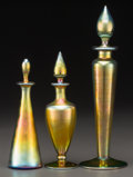 Art Glass:Steuben, Three Steuben Gold Aurene Glass Perfumes. Circa 1920. Engravedaurene, 1414; 3204. Ht. 10-3/8 in. (tallest). ... (Total: 3Items)