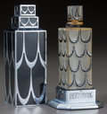 Glass, R. Lalique Glass with Black Enamel Lucien Lelong Skyscraper Perfume With Case. Circa 1929. Molded R. LALIQUE, FR...