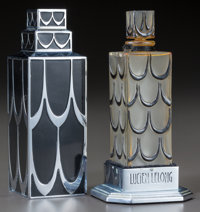 R. Lalique Glass with Black Enamel Lucien Lelong Skyscraper Perfume With Case Cir