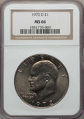 Eisenhower Dollars, 1972-D $1 MS66 NGC. NGC Census: (323/4). PCGS Population: (482/15). Mintage 92,548,512. ...