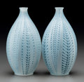 Art Glass:Lalique, Pair of R. Lalique Frosted Glass Acacia Vases with BluePatinas. Circa 1921. Engraved LALIQUE; Molded R. LAL...(Total: 2 Items)