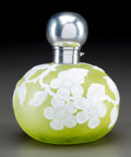 Art Glass:Webb, English Cameo Yellow Glass Floral Perfume with Silver Mounts. Circa1887. Stamped (lion passant), (anchor), n, (duty mar...