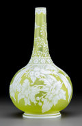 Art Glass:Webb, English Yellow Cameo Glass Floral Bottle Vase. Circa 1885. Ht.11-3/4 in.. ...