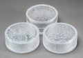 Art Glass:Lalique, Three R. Lalique Clear and Frosted Glass Boxes. Compiègne,Meudon, Laurier for Arys.. Circa 1920-1924. Moldedan... (Total: 3 Items)