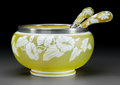 Art Glass:Webb, Three-Piece Webb & Sons Yellow Cameo Glass Fruit Serving Setwith Gorham Silver Mounts. Circa 1880. Etched THOMAS WEBB &SON... (Total: 3 Items)