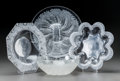 Art Glass:Lalique, Four Lalique Clear and Frosted Glass Coupes. IncludesChantilly & Chicoreé. Circa 1932 and later.Stenciled LALIQUE,... (Total: 4 Items)