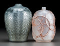 Art Glass:Lalique, Two Small R. Lalique Glass Vases. Frosted glass Eglantineswith red patina and gray glass Tournai.. Circa 1921-1924....(Total: 2 Items)