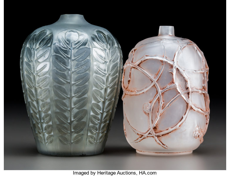 Two Small R Lalique Glass Vases Frosted Glass Eglantines With Red