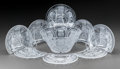 Art Glass:Lalique, Lalique Clear and Frosted Glass Balmoral Salad Set. Saladbowl and 8 demilune plates.. Post-1945. Engraved Lal... (Total:9 Items)