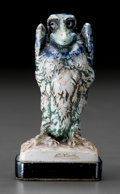 Ceramics & Porcelain, British:Modern  (1900 1949)  , Small Martin Brothers Glazed Stoneware Bird. Circa 1913. Signedalong base RW Martin + Bro, London + Southall, 18-6-1913...