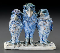 Martin Brothers Glazed Stoneware Triple Wally Bird Jar and Cover Circa 1906. Sign