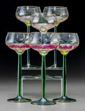 Art Glass:Muller, Six Moser-Style Art Nouveau Glass Wine Stems. Early 20th century.Ht. 8 in.. ... (Total: 6 Items)