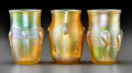 Art Glass:Tiffany , Three Tiffany Studios Gold Favrile Glass Tumblers with Prunts andThreading . Circa 1897 & 1913. Engraved L.C.T., H2076... (Total: 3 Items)