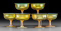 Art Glass:Tiffany , Six Tiffany Studios Gold Favrile Glass Sorbet Stems. Circa 1910.Engraved L.C.T., Favrile. Ht. 3-1/4 in.. FROM THE ESTAT...(Total: 6 Items)
