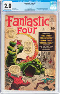 Silver Age (1956-1969):Superhero, Fantastic Four #1 (Marvel, 1961) CGC GD 2.0 Cream to off-whitepages....