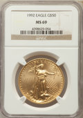 Modern Bullion Coins: , 1992 $50 One-Ounce Gold Eagle MS69 NGC. NGC Census: (882/33). PCGS Population: (499/7). CDN: $1,148 Whsle. Bid for problem-...