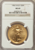 Modern Bullion Coins, 1986 $50 One-Ounce Gold Eagle MS69 NGC. NGC Census: (8688/462). PCGS Population: (3682/33). CDN: $1,148 Whsle. Bid for prob...
