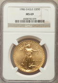 Modern Bullion Coins, 1986 $50 One-Ounce Gold Eagle MS69 NGC. NGC Census: (8689/462). PCGS Population: (3683/33). CDN: $1,148 Whsle. Bid for prob...