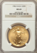 Modern Bullion Coins, 1986 $50 One-Ounce Gold Eagle MS69 NGC. NGC Census: (8657/458). PCGS Population: (3684/33). CDN: $1,148 Whsle. Bid for prob...