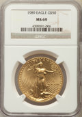 Modern Bullion Coins: , 1989 $50 One-Ounce Gold Eagle MS69 NGC. NGC Census: (1523/46). PCGS Population: (816/19). CDN: $1,148 Whsle. Bid for proble...