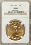 Modern Bullion Coins: , 1989 $50 One-Ounce Gold Eagle MS69 NGC. NGC Census: (1522/46). PCGS Population: (809/19). CDN: $1,148 Whsle. Bid for proble...
