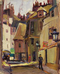 Texas:Early Texas Art - Regionalists, LLOYD GOFF (1908-1982). Untitled Paris Street Scene, 1928.Oil on linen. 9-1/2 x 7-1/2 inches (24.1 x 19.1 cm). Unsigned...