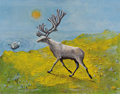 Texas:Early Texas Art - Regionalists, KELLY FEARING (b. 1918). Spirit Deer at a Yellow Edge, 1970.Oil on linen with silverleaf highlights. 22 x 28 inches (55...