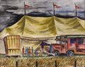 Texas:Early Texas Art - Regionalists, KELLY FEARING (b. 1918). Circus Tent with a Row of HopefulOutsiders, 1939. Watercolor on paper. 16-1/2 x 20-1/2 inches...