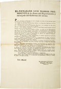 Miscellaneous:Ephemera, Mexico (Republic). Decree Separating Coahuila from Texas,...