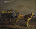 Paintings, FRANÇOIS VANDEVERDONK (Belgian 1848-1875). Chien de Laitière. Oil on mahogany panel. 7-3/4 x 10-1/4 inches (19.7 x 26.0 ...