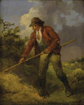 Fine Art - Painting, European:Antique  (Pre 1900), GEORGE MORLAND (British 1763-1804). Making Hay, 18thcentury. Oil on canvas. 12-1/2 x 10-1/2 inches (31.8 x 26.7 cm).Si...