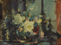 Fine Art - Painting, American:Modern  (1900 1949)  , WALTER BIGGS (American 1886-1968). Still Life with Vase ofFlowers and Porcelain Figures, 20th century. Oil on canvas.1...