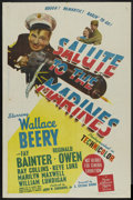 "Movie Posters:War, Salute to the Marines (MGM, 1943). Australian One Sheet (26.5"" X40""). War. ..."
