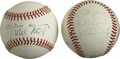 Autographs:Baseballs, Willie Mays and Cal Ripken, Jr. Single Signed Baseballs Lot of 2.Each of the OAL (MacPhail) orbs seen here has been signed...