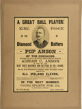 Baseball Collectibles:Others, 1890s Cap Anson Biography Broadside. Cap Anson conducted himself insuch a way on the baseball diamond that he elevated him...
