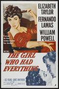 """Movie Posters:Romance, The Girl Who Had Everything (MGM, R-1962). One Sheet (27"""" X 41"""").Romance. ..."""