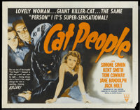 "Cat People (RKO, R-1952). Half Sheet (22"" X 28"") Style A. Horror"