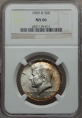 Kennedy Half Dollars, 1969-D 50C MS66 NGC. NGC Census: (149/4). PCGS Population: (231/9).Mintage 129,881,800. ...