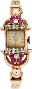 Estate Jewelry:Watches, Retro Swiss Lady's Diamond, Ruby, Pink Gold Watch. . ...