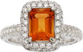 Estate Jewelry:Rings, Citrine, Diamond, White Gold Ring. ...
