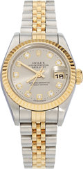 Estate Jewelry:Watches, Rolex Lady's Diamond, Gold, Stainless Steel Oyster PerpetualDatejust Watch, circa 1995. ...