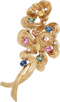 Estate Jewelry:Brooches - Pins, Sapphire, Diamond, Gold Brooch. . ...