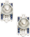 Estate Jewelry:Earrings, Black South Sea Cultured Pearl, Diamond, Sapphire, White GoldEarrings. ... (Total: 2 Items)